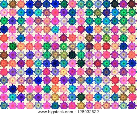 Abstract pattern background with colored flowers .