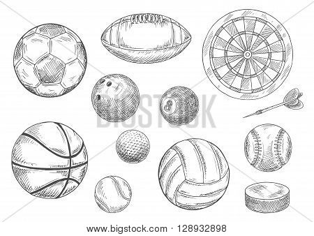 Sporting items for individual and team sporting games isolated sketches with balls for soccer or football, volleyball and basketball, rugby and baseball, golf and tennis, bowling and billiards, dart board with arrow and ice hockey puck