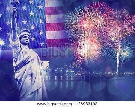 The Statue of Liberty with celebration firework on the background of flag usa 4th July Independence day concept