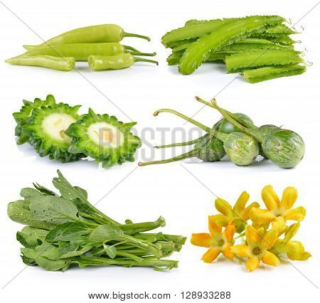 eggplant peppers winged bean Bitter melon Cowslip creeper cauliflower Chinese mustard on white background