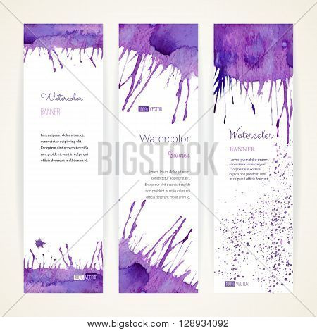 Set of hand painted watercolor vertical banners. Colorful abstract blue and purple brush stocks and splashes on a white backgrounds. Modern style graphic design template. Marketing concept.