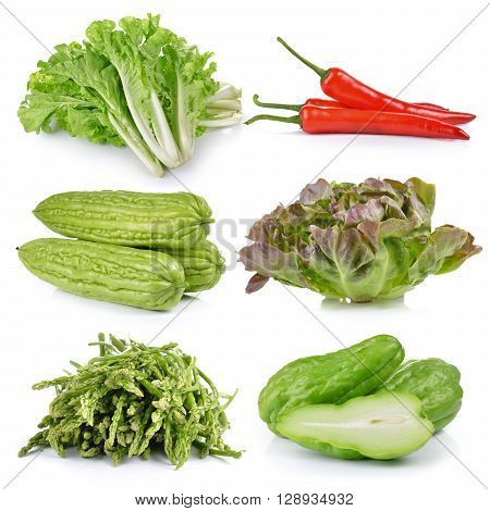 asparagus apple Chayote Momordica charantia Green Oak chili lettuce on white background