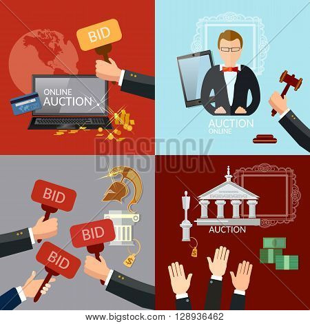 Auction and bidding set selling antiques vector illustration poster