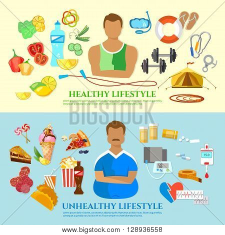 Healthy lifestyle and unhealthy lifestyle banner diet and fitness fat man slim man fast food and obesity problem vector illustration