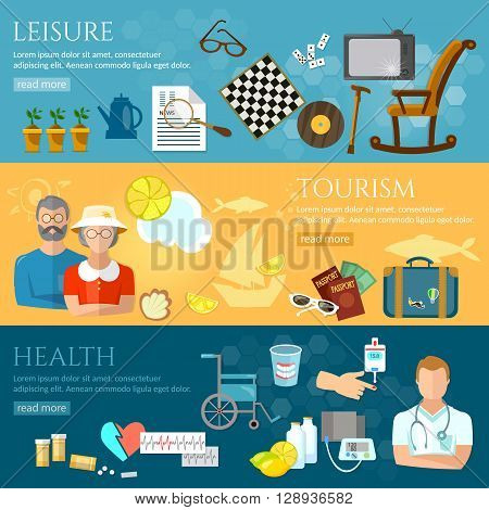 Nursing home banners pensioner active lifestyle social care for the elderly retirement home pension hobbies vector illustration