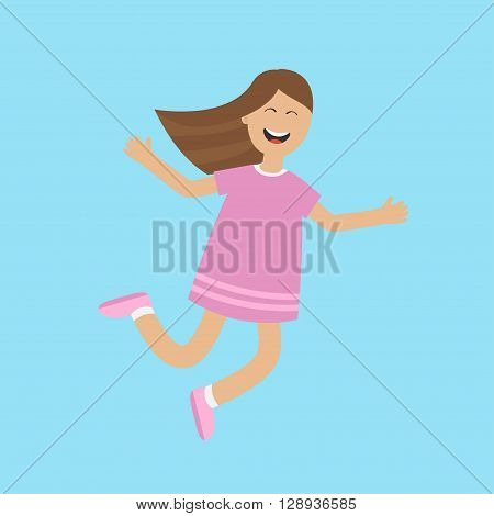 Girl jumping isolated. Happy child jump. Cute cartoon laughing character in violet dress. Smiling woman. Blue background. Flat design Vector illustration