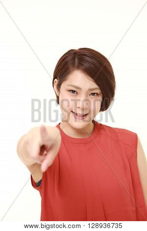 portrait of Japanese woman decided on white background