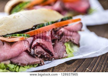 Sliced Roast Beef On A Sandwich