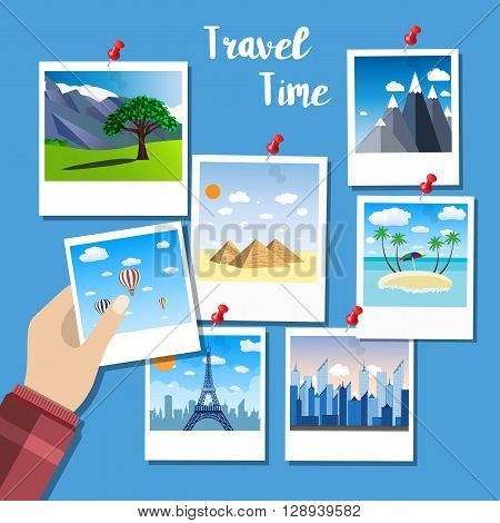 picture of photographs, vector illustration in flat design. travel and vacations concept