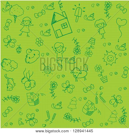 Vector kids doodle design with green backgrounds