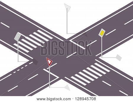 Road sign on street. Street traffic sign. Info graphic, junction crossway on white background. Illustration of crossroads main and side road. Flatten isolated master vector icon. poster