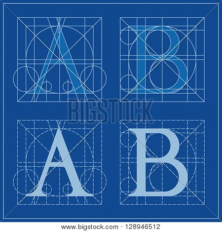 Designing Initials, letters A and B, blueprint.
