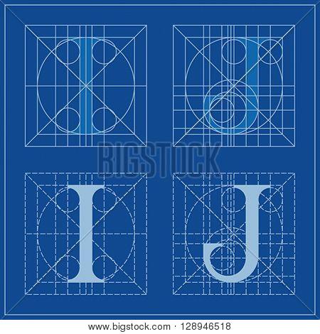 Designing Initials, letters I and J, blueprint.