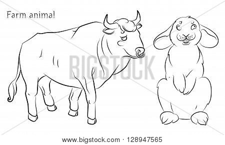 black and white image of a bull and rabbit - suitable for a child's coloring and not only. For your convenience each significant element is in a separate layer.