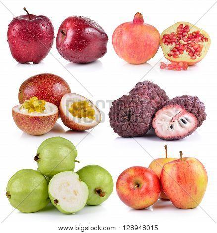 guava apple custard apple Passion fruit pomegranates on white background poster