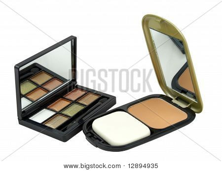 Powder And Eye Shadow Kit On A White