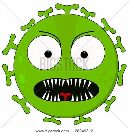 Green virus illustration with a fierce face and sharp teeth