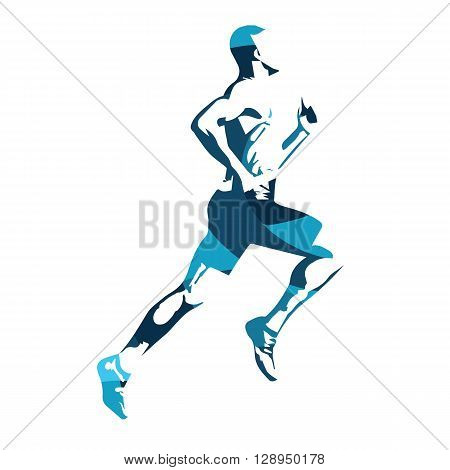 Abstract blue vector runner. Running man vector isolated illustration. Sport athlete run decathlon