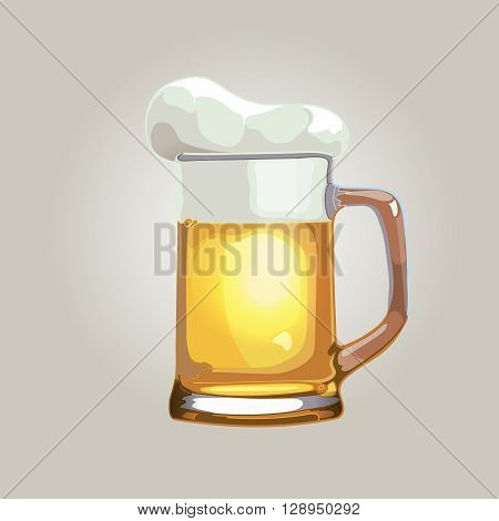 vector illustration of beer mug isolated on a light background. Beer mug icon picture