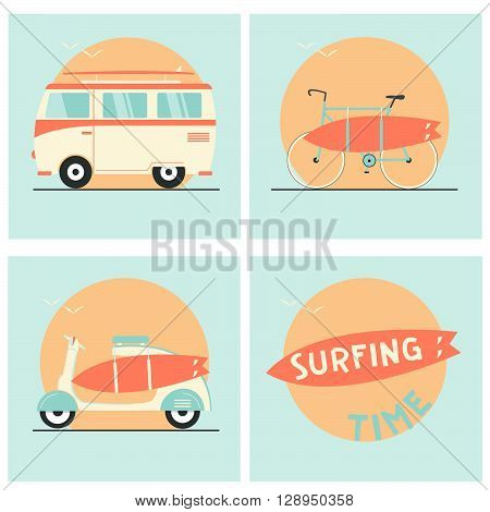 Surf board, bicycle, van and scooter -- Stock Vector #103084282