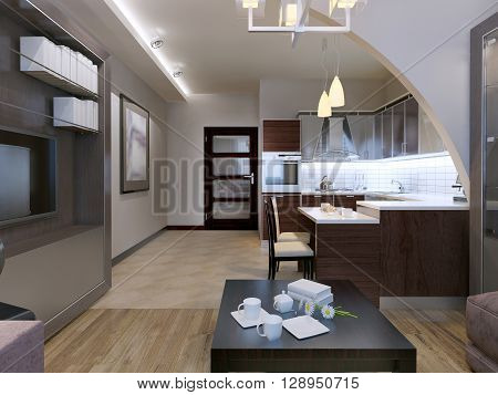 Contemporary studio design. Kitchen with lounge separated with beautiful but simple arch. Mixed flooring and white walls. Ceiling neon lamps. 3D render poster