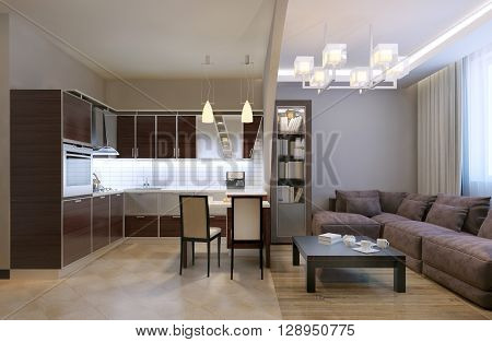 Arch separated kitchen studio. Mixed flooring and ceiling neon lamps and chandelier bookcase and velvet sofa with pillows. Kitchen furniture in unusual shapes. 3D render