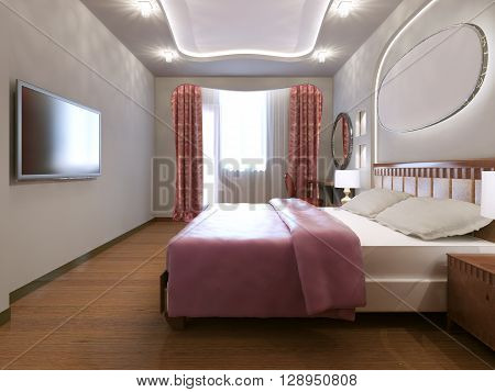 Idea of eclectic master bedroom. Small eclectic bedroom with white walls and medium hardwood flooring. 3D render