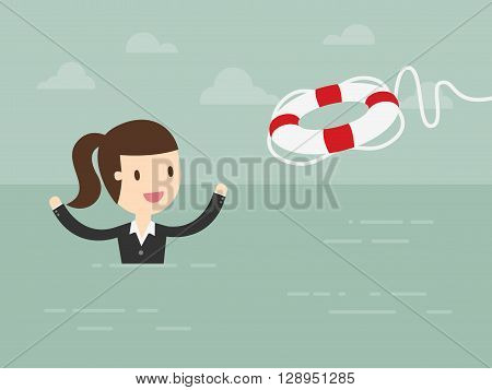 Business Woman With Life Preserver. Business Concept Cartoon Illustration.