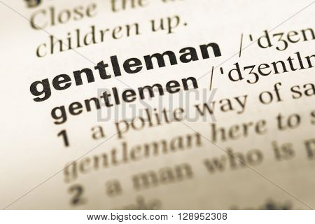 Close Up Of Old English Dictionary Page With Word Gentleman.
