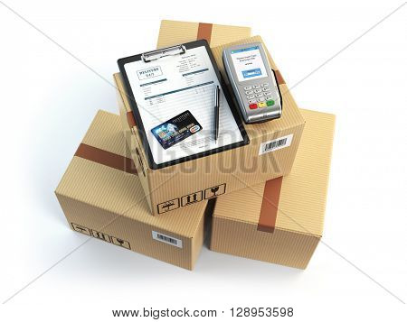 Delivery concept. Parcel cardbox clipboard with receiving form and pos terminal and credit card isolated on white. 3d illustration poster