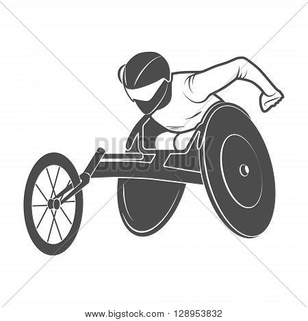 Icon Paralympic wheelchair Rio disabled. Vector illustration.