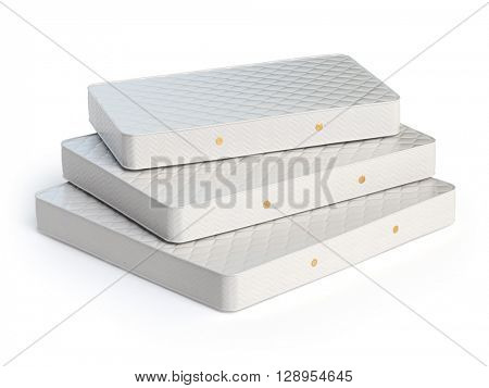 Mattress isolated on white background. Stack of orthopedic mattresses of different sizes. 3d illustration