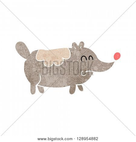 freehand retro cartoon small fat dog