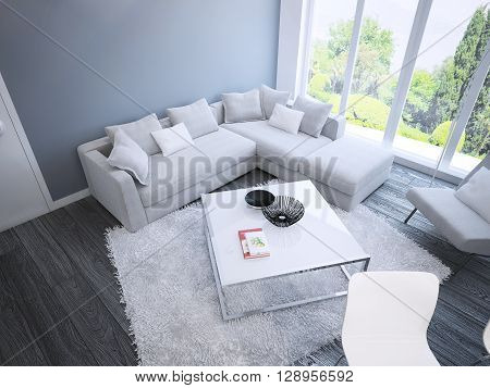 Techno living room interior. Spacious room with white furniture blue walls and dark brown parquet flooring. 3D render