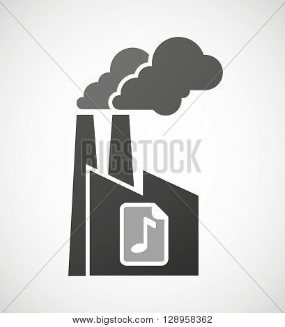 Isolated Industrial Factory Icon With  A Music Score Icon