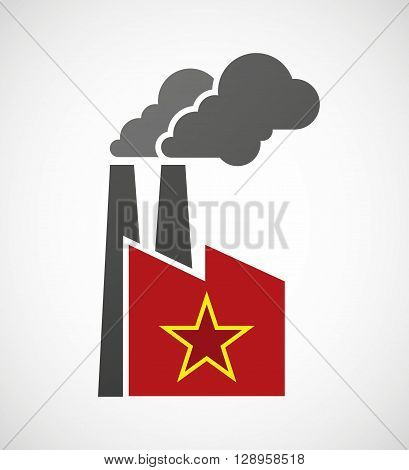 Isolated Industrial Factory Icon With  The Red Star Of Communism Icon