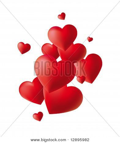 Red hearts on white backgrounds