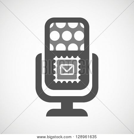 Isolated Mic Icon With  A Mail Stamp Sign