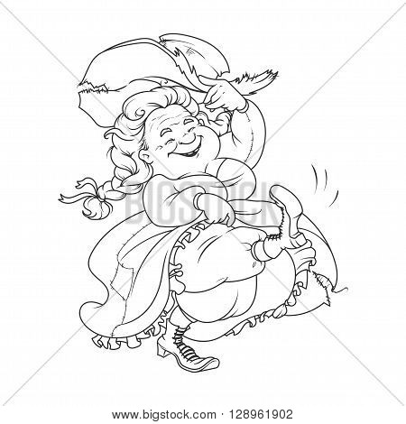 Dancing old lady. Funny cartoon character for coloring book. Vector illustration isolated on a white background.