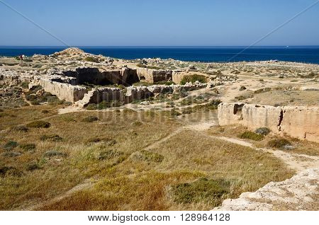 View of archaeological park Tombs of the Kings,ancient catacombs ,Paphos,Cyprus ,famous landmark,unesco heritage