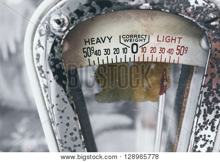 Weight Scale details Close up Vintage style Object