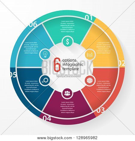 Vector business pie chart template for graphs charts diagrams. Business circle infographic concept with 6 options parts steps processes.