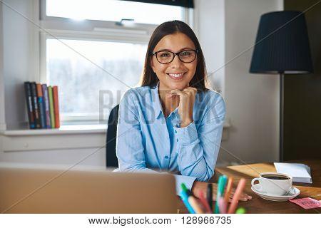 Smiling Female Entrepreneur At Her Desk