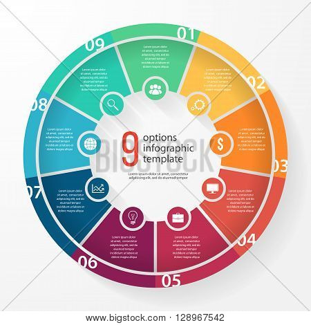 Vector business pie chart template for graphs charts diagrams. Business circle infographic concept with 9 options parts steps processes.