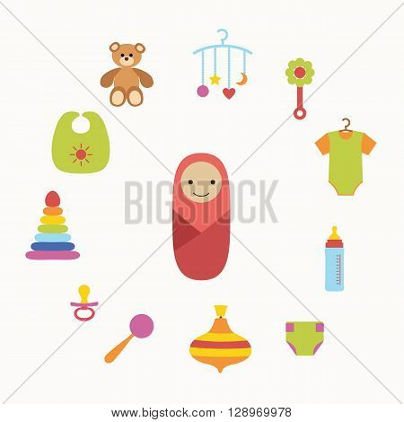 Baby care concept with toy elements. Baby icons:   rattle, bib, nipple, duck, cloth. Baby care  poster vector illustration. Colorful baby care concept in flat style. Newborn baby care concept