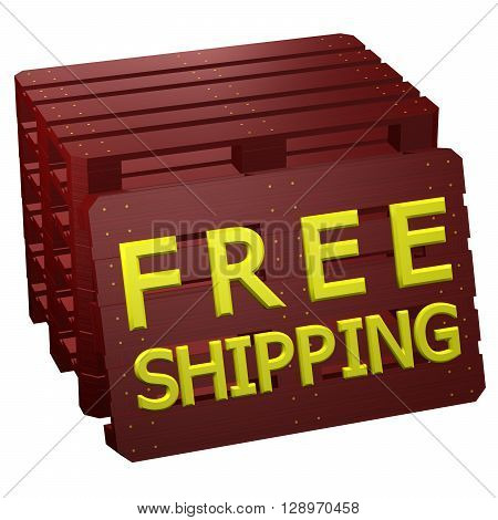 Mahogany pallets with words free shipping isolated on white background. 3D rendering.