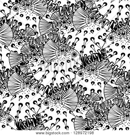 Graphic puffer fish iseamless pattern. Sea hedgehog. Sea and ocean creature in black and white colors. Vector element for seafood menu. Coloring book page design