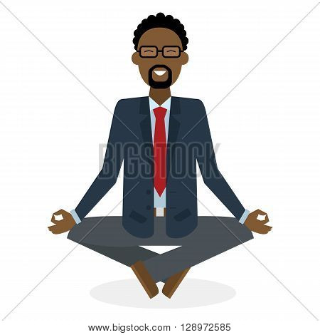 Businessman in lotus pose on white background. Isolated african american businessman. Concept of recreation, concentration and meditation. Yoga pose.
