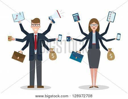 Multitasking businessman and businesswoman with on white background. Successful businessman. Workaholic. Talented and professional. Leadership.