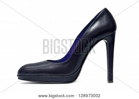Womens black high heels shoe on a white background.